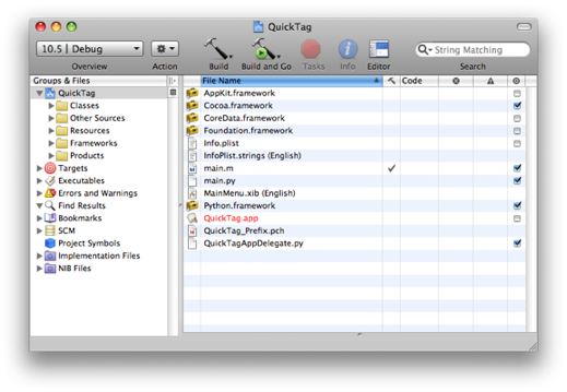 xcode project window